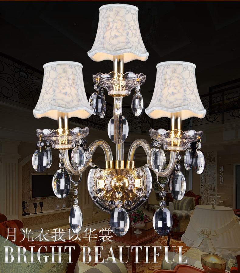 Image 2 - Luxury top K9 crystals transparent gold Crystal Wall Lamp Candle 1/2/3 E14 Bulbs heads lampshades beside bed room light-in Wall Lamps from Lights & Lighting