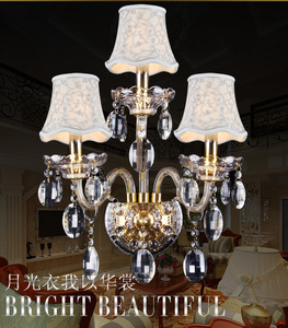 Image 2 - Luxury top K9 crystals transparent gold Crystal Wall Lamp Candle 1/2/3 E14 Bulbs heads lampshades beside bed room light