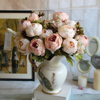 European Big Size 6 Heads Artificial Peony Silk Flower Bouquet For Home Decoration Wedding Palace Emperor