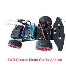 Elecrow 4WD châssis voiture intelligente pour Arduino voiture plate forme avec Kit de roulement Servo en métal contrôle du mécanisme de direction bricolage voiture Robot 4 roues