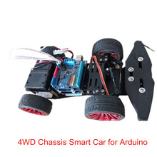 Elecrow 4wd 섀시 스마트 자동차 arduino 자동차 플랫폼 금속 서보 베어링 키트 스티어링 기어 컨트롤 diy 4 휠 로봇 자동차