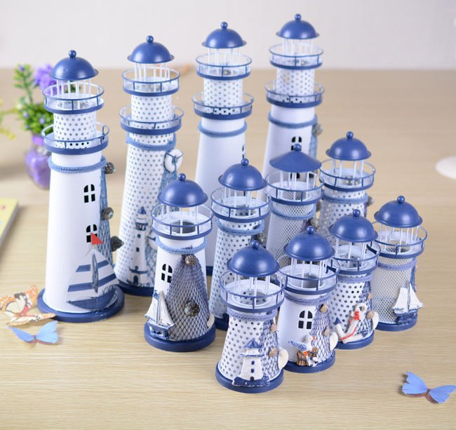 2pcs/LOT 14.5-28.5CM Mediterranean Style Creative Metal Lighthouse Model Handmade Beacon Nautical Home Decoration Wedding Gift