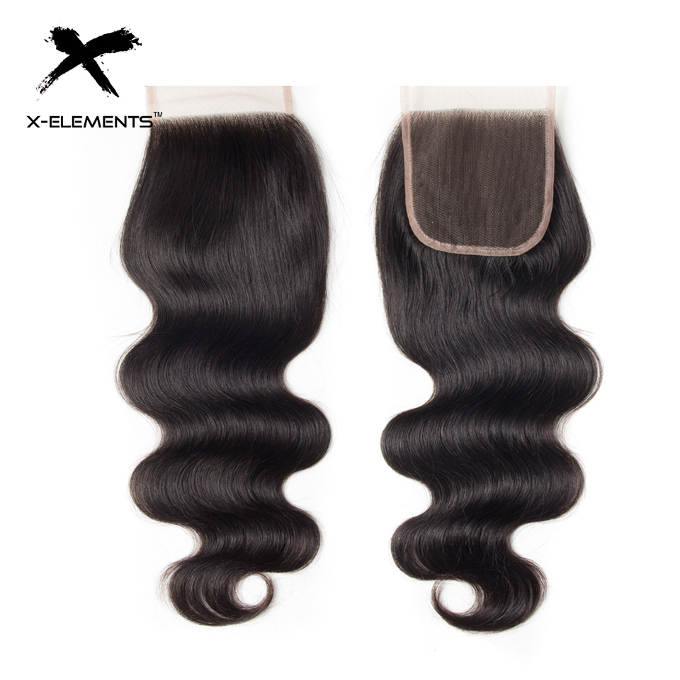 X-Elements Hair 4x4 Lace Closure Body Wave Hair Weaves Non-Remy Brazilian Human Hair Extensions Natural Color Swiss Lace Closure (7)