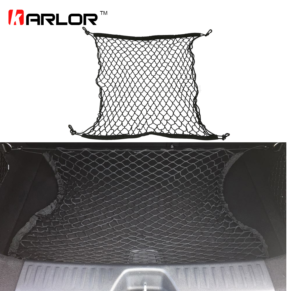 Auto Care 70 x 70cm Universal Car Trunk Luggage Storage Cargo Organiser Nylon Elastic Mesh Net With 4 Plastic Hooks Accessories car rear trunk security shield cargo cover for volkswagen vw tiguan 2016 2017 2018 high qualit black beige auto accessories