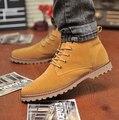 Cuero Corto Botas Bajas de Nieve de invierno Mantener Caliente Zapatos Añaden Felpa Dentro de la Zapatilla de deporte Ocasional Nubuck Los Hombres Al Aire Libre Botas Martin