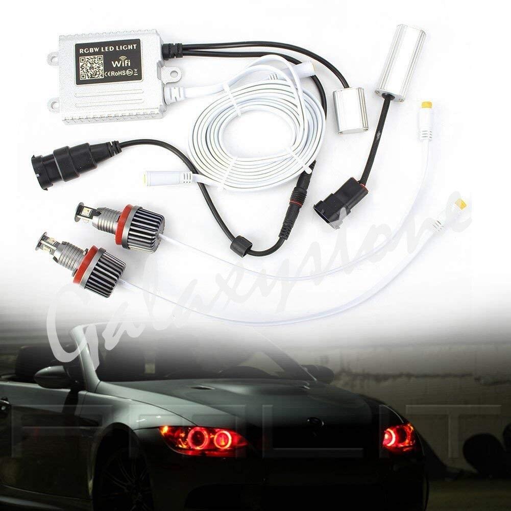 Pair 120W WIFI Control H8 RGB LED Angel Eyes Lights Halo Rings for BMW E82 E87 E90 E91 E92 E93 E60 E61 E63 E64 F01 F02 E84 car led door logo projector ghost shadow light for bmw 3 5 6 7 m3 m5 e60 e90 f10 e63 f30 e64 e65 e86 e92 e85 e93 e61 f01 f02 gt