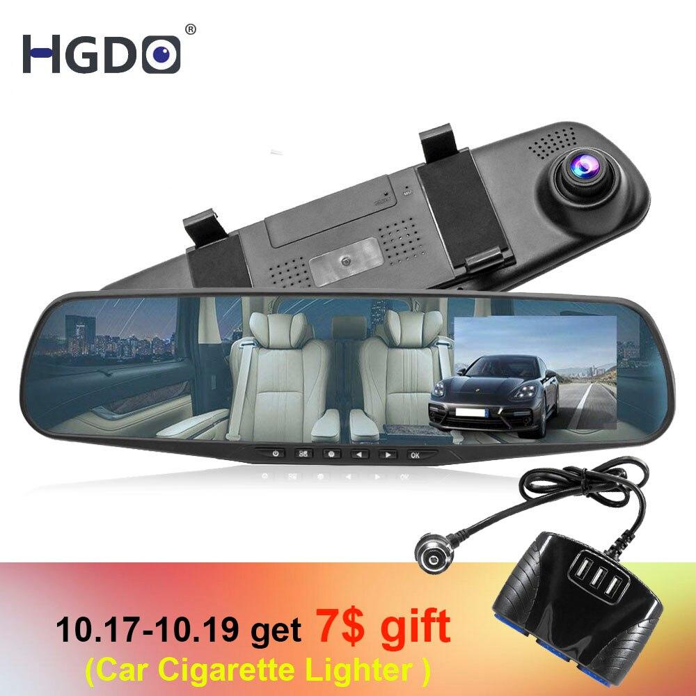 HGDO 4.3 ''FHD 1080 p Dual Lens Auto DVR Specchio Dash Cam auto Recorder Specchio Retrovisore di Visione Notturna Videocamera vista posteriore registrazione in loop