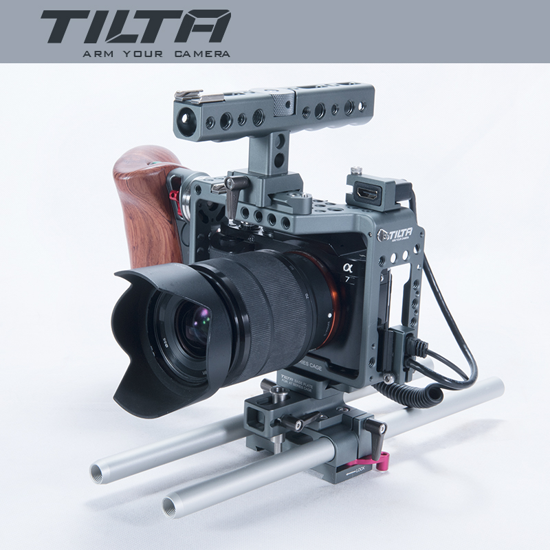 2017 New Tilta ES-T17-A Dslr Camera A7S Rig Cage Video Stabilizer Baseplate+Wooden Handle+Top Handle Movie Kit For SONY A7 yelangu dslr rig video stabilizer mount rig dslr cage handheld stabilizer for canon nikon sony dslr camera video camcorder