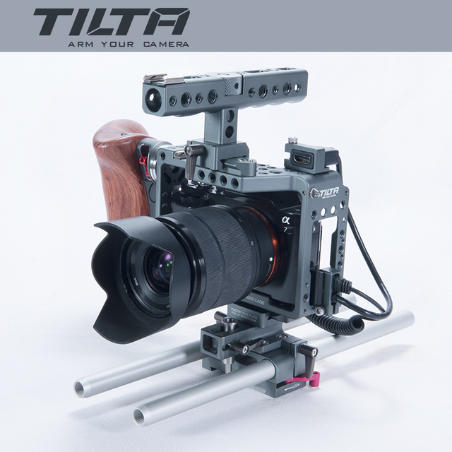 2017 New Tilta ES-T17-A Dslr Camera A7S Rig Cage Video Stabilizer Baseplate+Wooden Handle+Top Handle Movie Kit For SONY A7