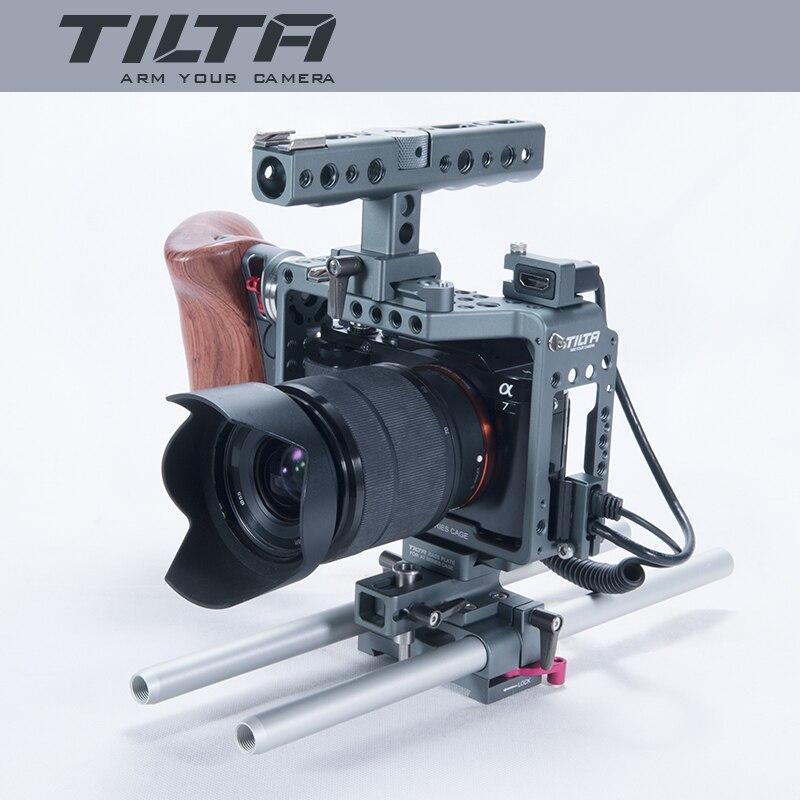 2017 nouveau Tilta ES-T17-A Dslr caméra A7S plate-forme Cage vidéo stabilisateur plaque de base + manche en bois + poignée supérieure film Kit pour SONY A7