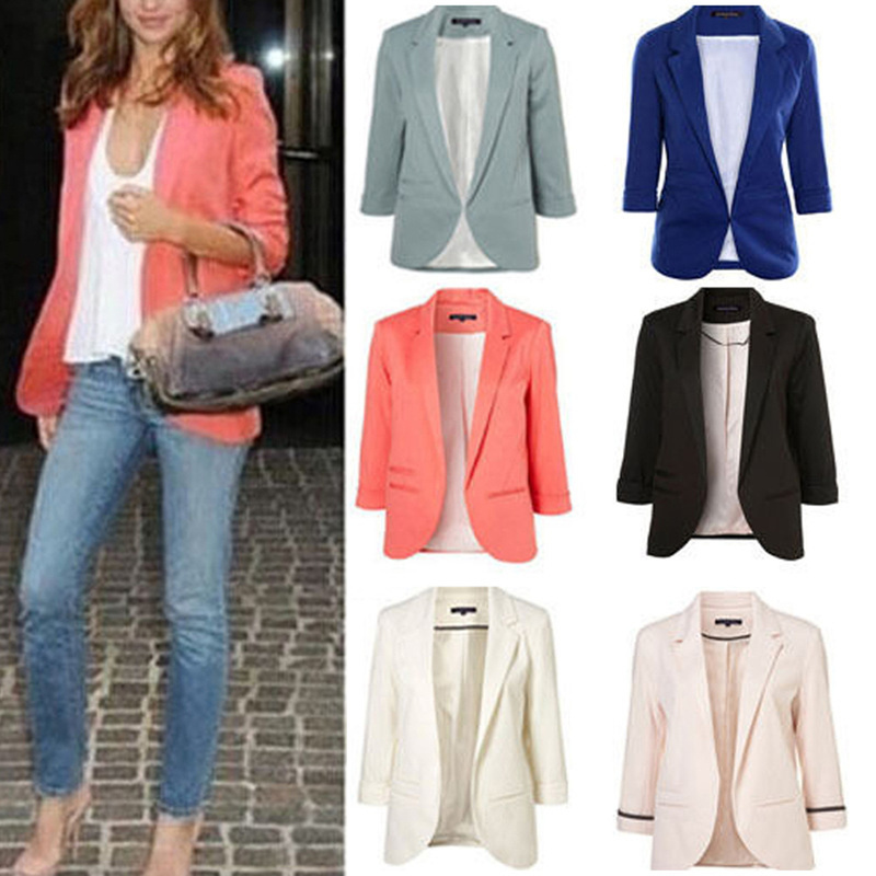 Helisopus 2019 Spring Candy Color Slim Fit Stylish 3/4 Sleeves   Jacket   Fashion Casual   Basic     Jacket   Women Plus Size Mujer