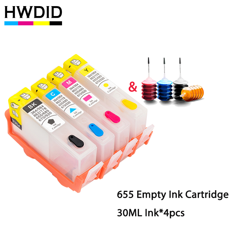 HWDID 655 Refillable Ink Cartridge Replacement For HP 655 655xl For HP Deskjet 3525 4615 4525 4625 5525 6520 6525 6625 Printer