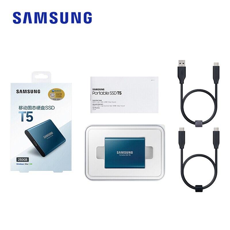 Samsung T5 portable ssd disco duro ssd 2 to 1 to 500GB 250GB externe à semi-conducteurs USB3.1Gen2 et rétrocompatible pour PC - 5