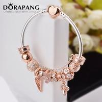 DORAPANG 100% 925 Sterling Silver Rose gold Heart bracelet suits Clear CZ Flower Charm Bead fit Bracelet DIY For Women Jewelry