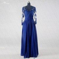 RSE739 Blue Graduation Dress Long Sleeve Prom Dresses