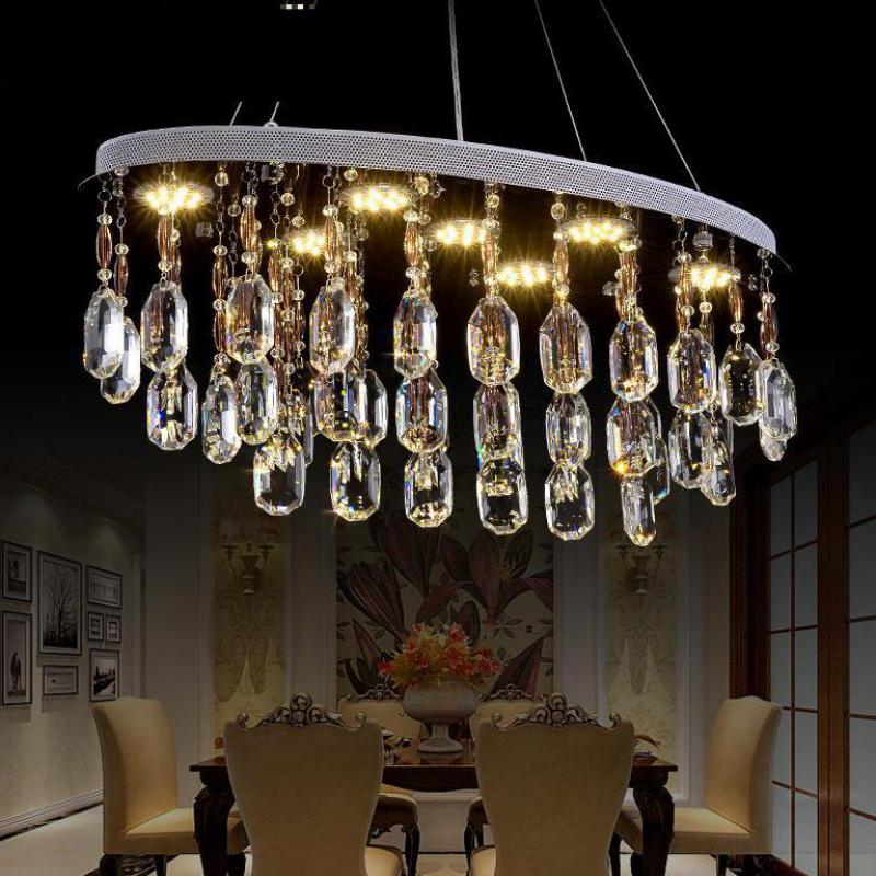 Modern Oval crystal pendant light for Restaurant Dining room home decorative lights & lighting GU10 Led Suspension Luminaire