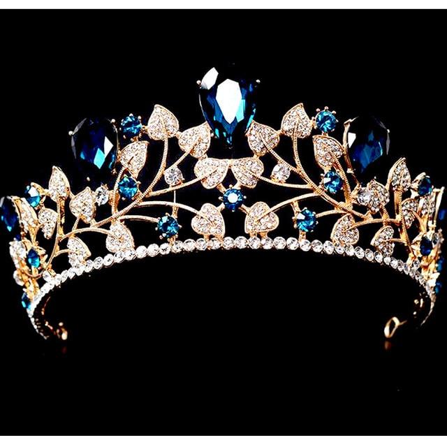 Coronas de Novia de lujo Barroco Grande Azul Cristal Tiara Nupcial Accesorios Para el Cabello Diadema Nupcial Celada de La Boda de La Boda