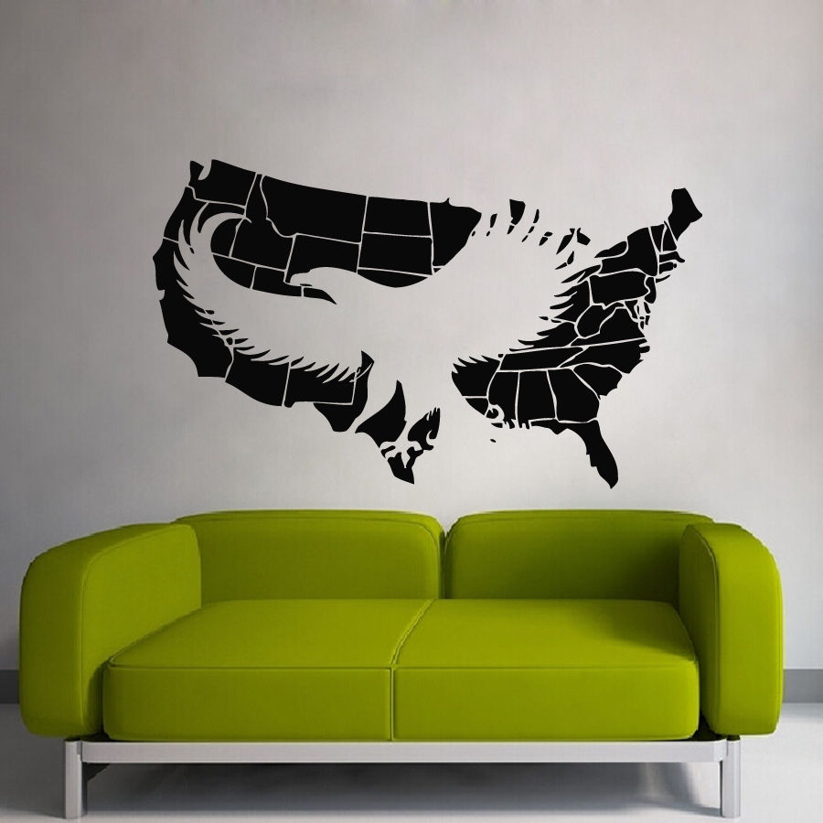 Us Map Mural.Dctal Us Map Sticker Usa Decal Muurstickers Posters Vinyl Wall