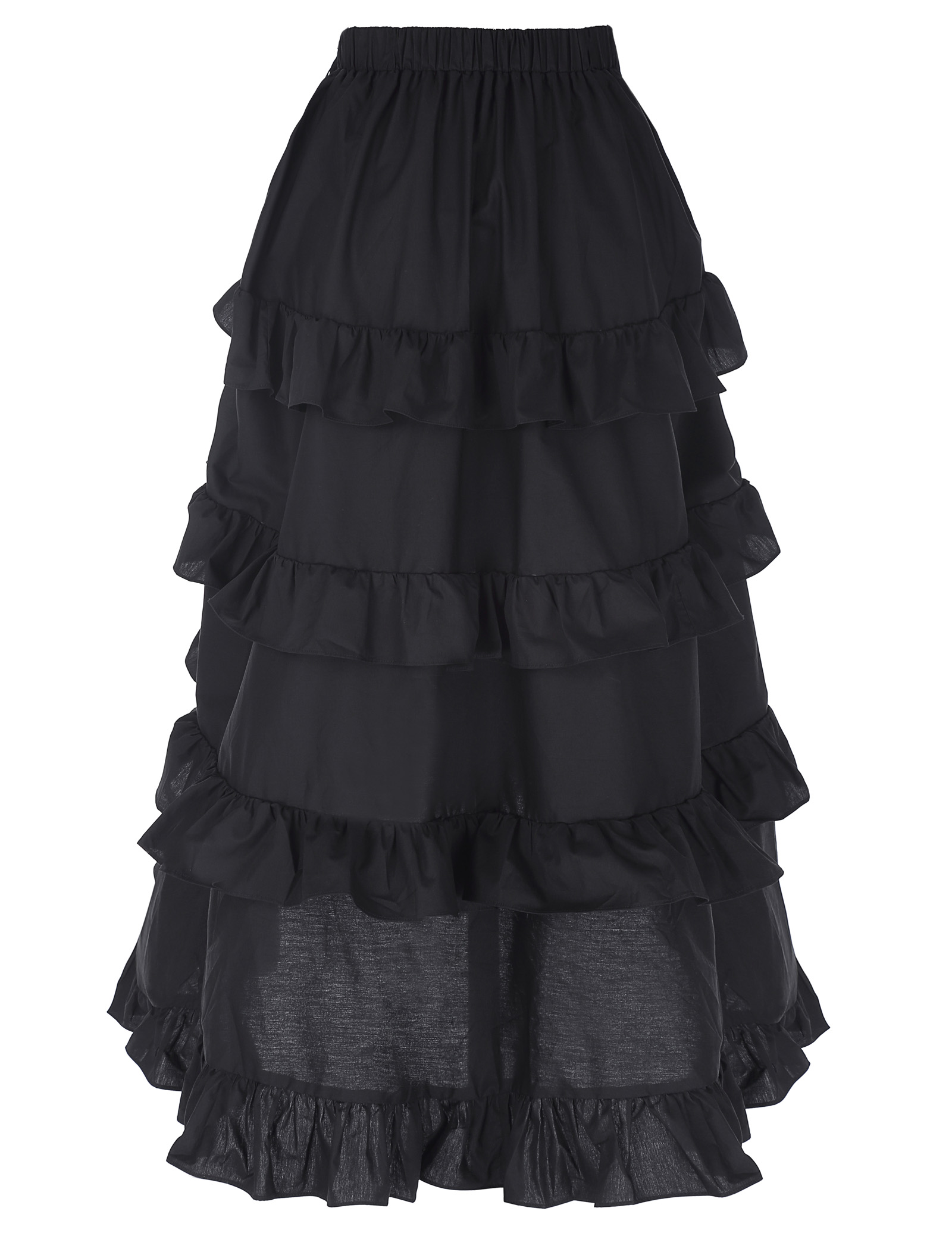 2018 Gothic Style Skirt Women Sexy Fishtail Slim High-Low Asymmetric Ruffle Vintage Steampunk Clothing Cotton Skirts