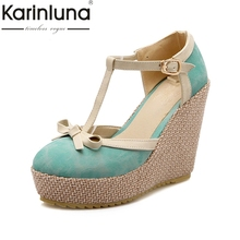 Karinluna/большой Размеры 33-43 сладкий бабочкой круглый носок женская обувь на платформе на танкетке на высоком каблуке с Т-образным ремешком женские вечерние туфли-лодочки