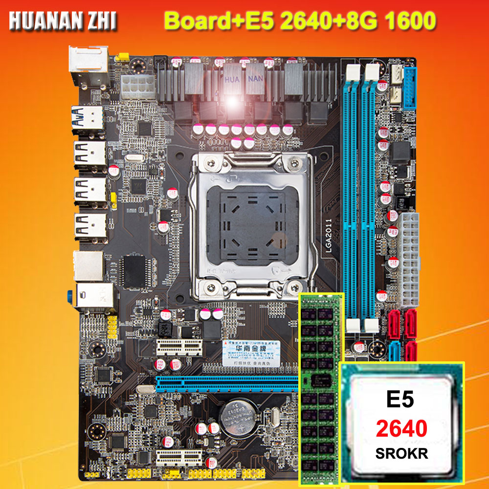 Recommended discount motherboard HUANAN ZHI M-ATX X79 motherboard with CPU Intel <font><b>Xeon</b></font> E5 <font><b>2640</b></font> SROKR 2.5GHz RAM 8G DDR3 REG ECC image