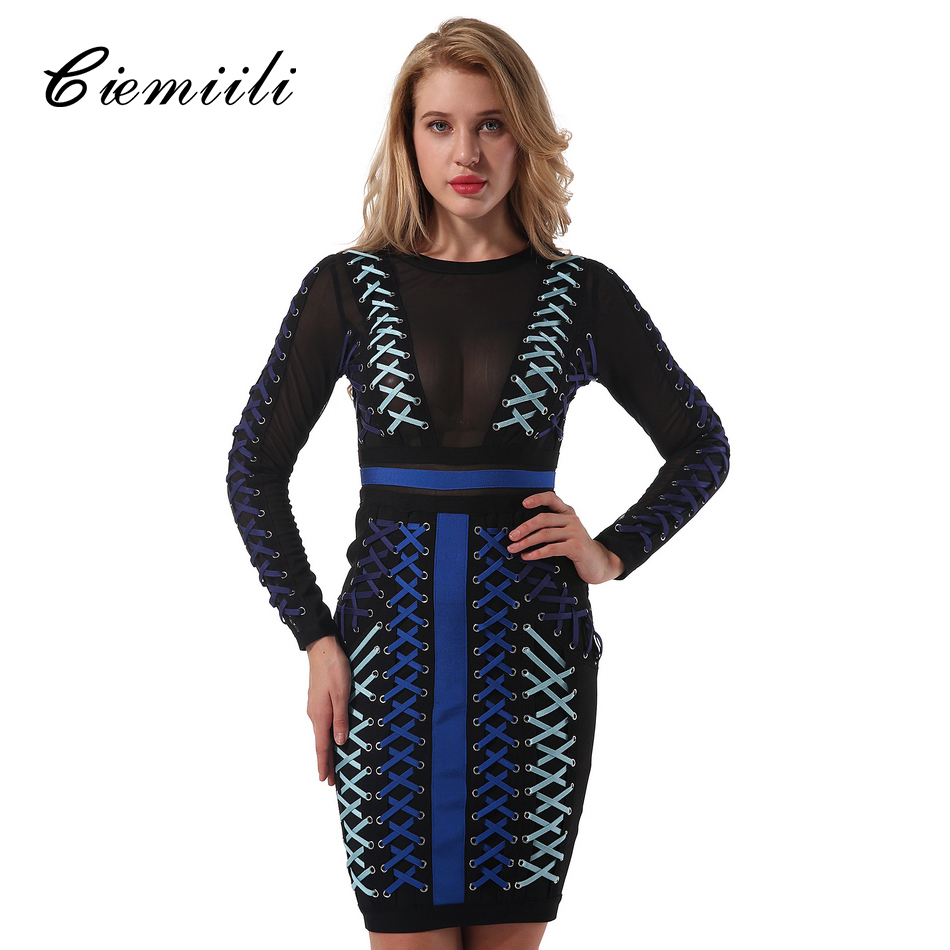 CIEMIILI 2018 Women Dress With Mesh Patchwork Bandage Dress Elegant Party Fashion O Neck Cross Tips