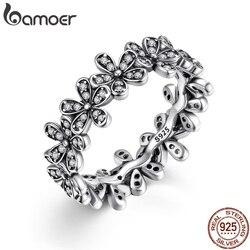 BAMOER 925 пробы серебряные цветы палец кольца ослепительно ромашка Луг стекируемые кольцо, ясно CZ для женщин Свадебные украшения PA7122