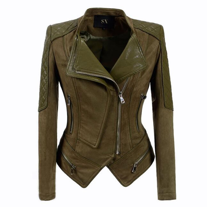 Women Army green Faux Suede Biker Jacket Chic Spliced Leather Shrug Shoulder Pads Double Lapels Zipper