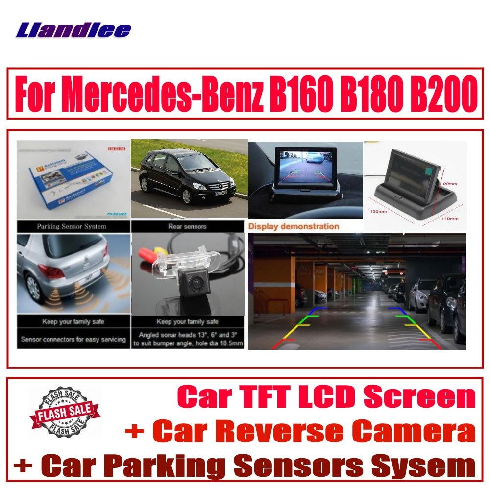 Liandlee HD Monitor Display For Mercedes-Benz B160 B180 B200  Car Digital Parking Sensors System  CCD Reverse Rear View Camera