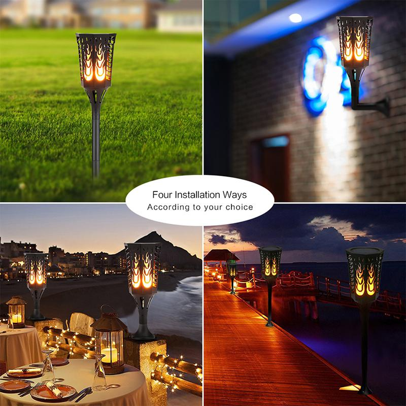 LumiParty 1pc 96LED IP65 Solar Flame Torch Light Garden Light Dancing Flickering Waterproof Outdoor Underground Solar Wall Lamp