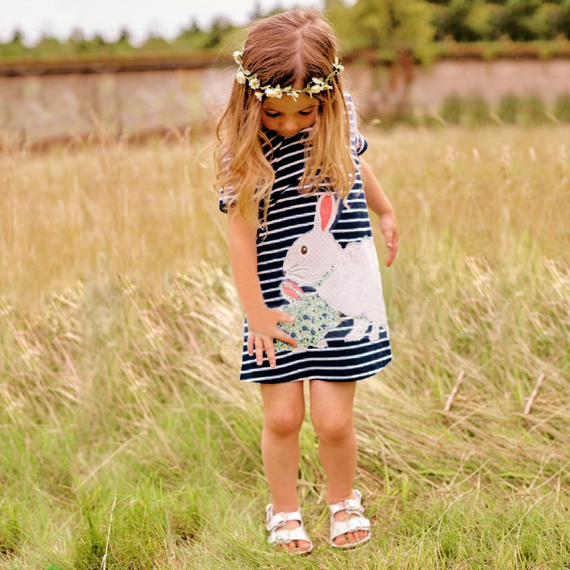 Girls Summer Dress Toddler Striped Rabbit Embroidered Children Clothing 2018 New Short Sleeve Casual Kids Clothes цена