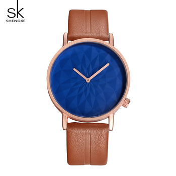 Shengke Luxury Watches Women Brand Leather Strap Quartz Watch Ladies Creative Dial Wristwatch 2019 SK Women's Day Gift #5037 image