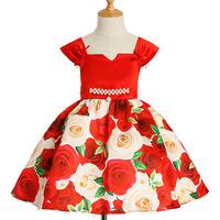 New Fashion A Line Dresses Girl 2018 Autumn Winter Floral Print Toddler Girl Dresses Kids Clothes