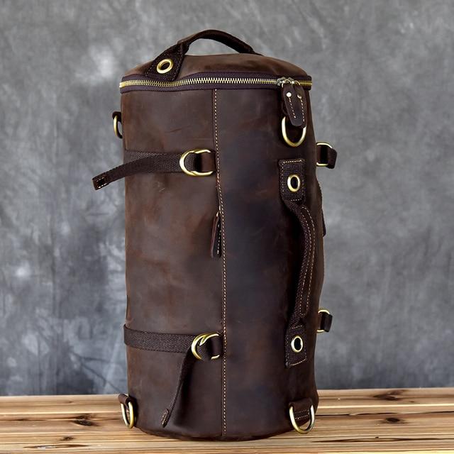 Large capacity man travel bag mountaineering backpack men bags hand Crazy Oli Genuine leather bucket shoulder