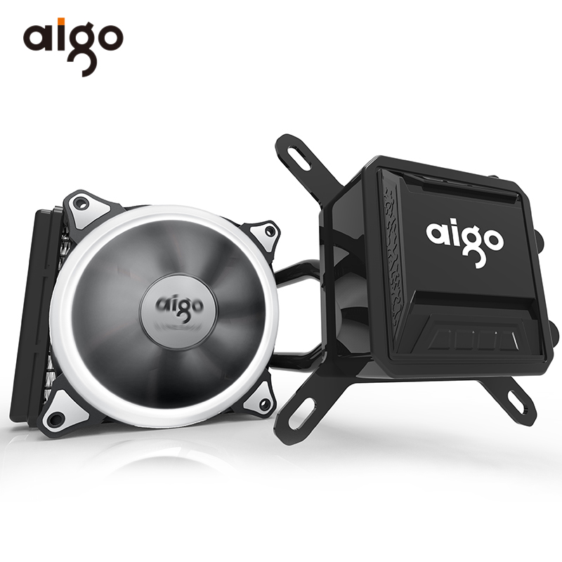 Aigo CPU Water Cooler Fan Mute Ceramic Bearings Computer Pc Case Heatsink Radiator Water Liquid CPU Cooling Water Cooler 12V compute fan cpu cooling fan blueled light freezer water liquid cooling system cpu cooler fluid dynamic bearing for computer