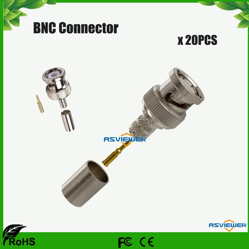 BNC Connector For RG59 Coax 3 Piece BNC Crimp On Connector For CCTV Security Camera 20pcs/lot