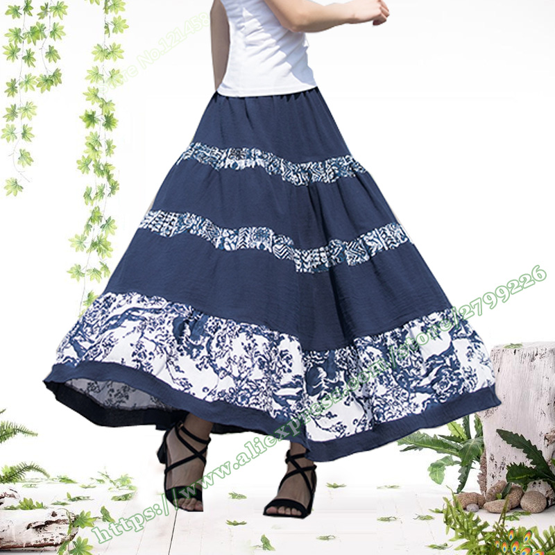 2018 Cotton Linen Casual Vintage Pastoral Style Dark Blue Green Floral Stitching Pleated Female Long Maxi