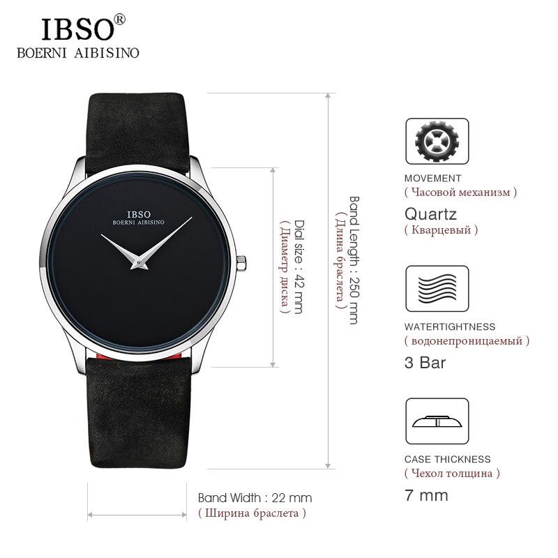 8e5dce0b628 7 IBSO MM Ultra fino Mens Relógios Top Marca de Luxo Relógio de Quartzo Dos  Homens de Couro Genuíno Preto 2019 Estilo Simples relogio masculino em  Relógios ...