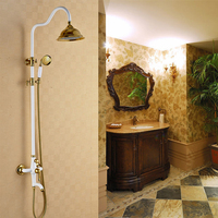 Antique European Court Style Mixed Shower Faucet Sets Brass White Gold Plated Luxury Design HJ 9999