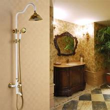 Ретро Стиль античная латунь белая краска Позолоченные душ, холодной и горячей воды, латунь ручной душ и топ латунь спрей lybj117