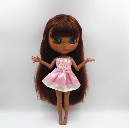 Blygirl Blyth doll Brown red bangs straight hair nude doll black skin joint body 19 joint DIY doll can change makeup