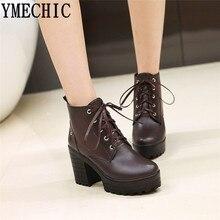7aa346728fb YMECHIC botas de encaje para mujer tacones de bloque Punk zapatos de  plataforma negro amarillo marrón