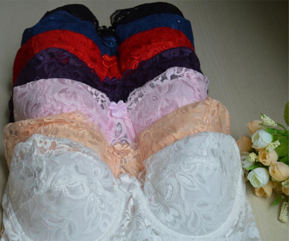 Women Bra Lace Bralette Embroidery Bras Underwire Mesh Embroidery Lingerie,A,36 Black