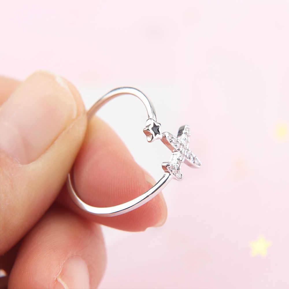 1Pc Charm แหวนเปิดเครื่องบินดาวคริสตัลแหวนผู้หญิง Finger Boho เครื่องประดับหมั้น Minimalist ของขวัญ
