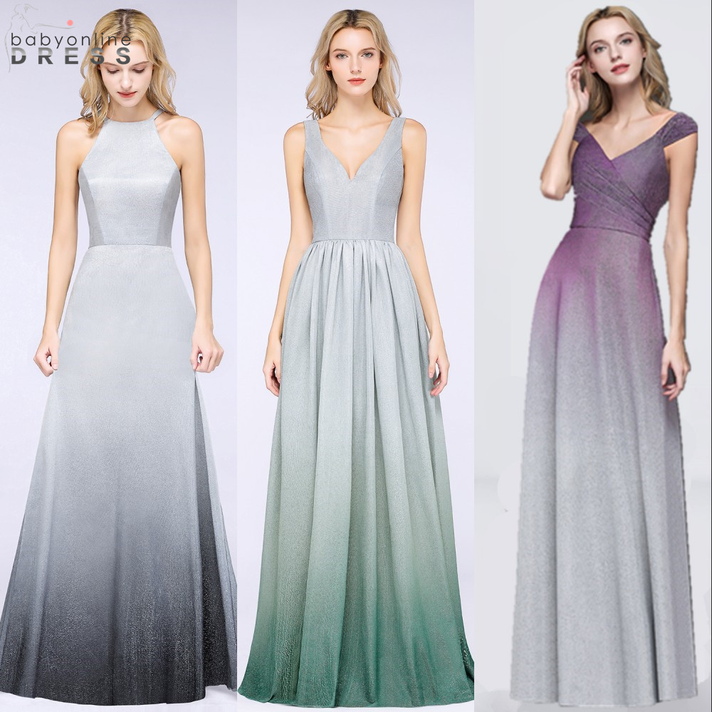 Sexy Open Back Ombre Prom Dresses Long 2019 Elegant Cap Sleeve Bright Silk Purple Prom Gowns Vestido De Festa Longo