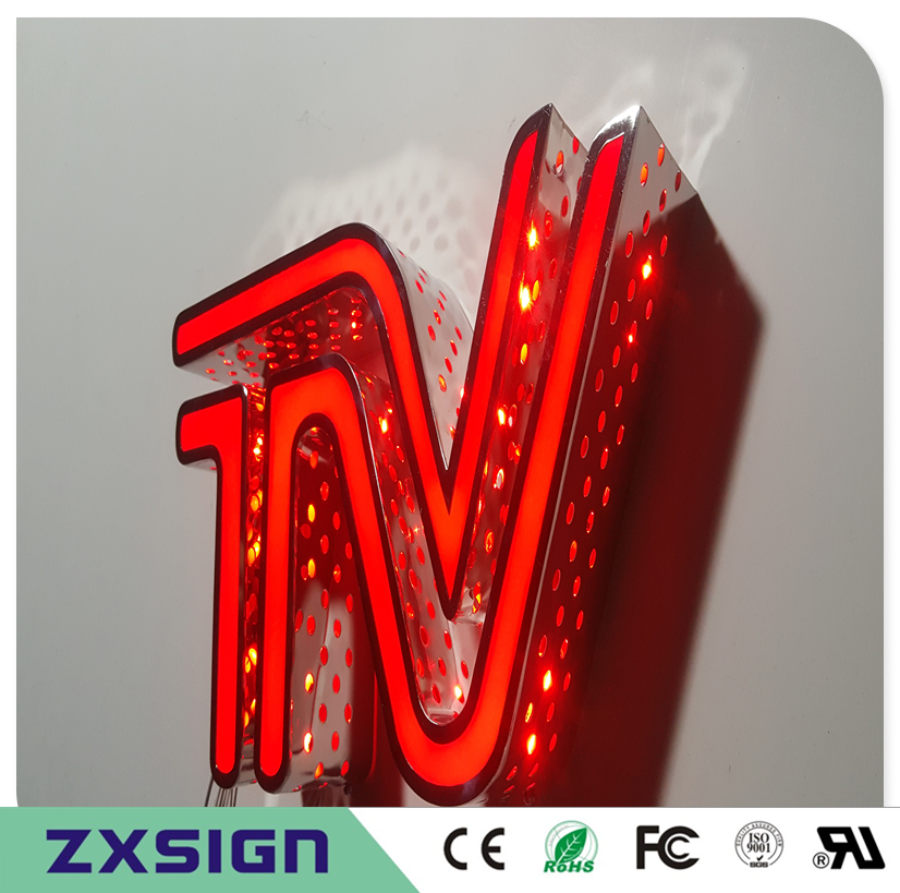 Factory Outlet Outdoor Acrylic Front Stainless Steel Sides With The Holes LED Channel Letters, Frontlit And Side Lit Shop Signs