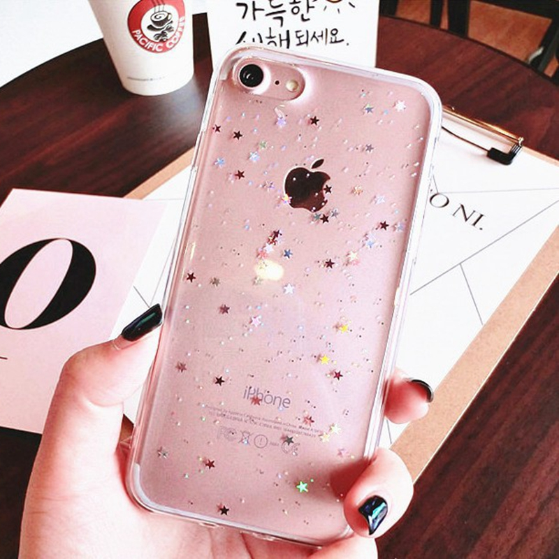 Case for iphone 6 6S Plus Silicone Bling Glitter Star Cover Soft Transparent Clear Cover for iphone 7 Plus iphone 8 Case X 10