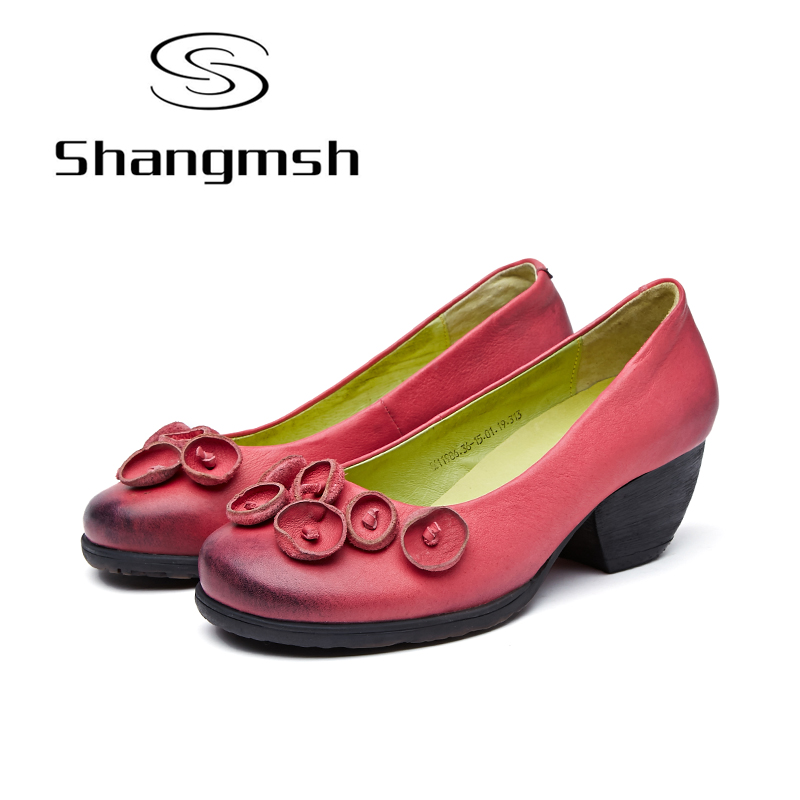 Shangmsh Women's High Heels Pumps Sexy Bride Party Thick Heel Round Toe Genuine Leather High Heel Shoes for Office Lady Women шапка playtoday шапка
