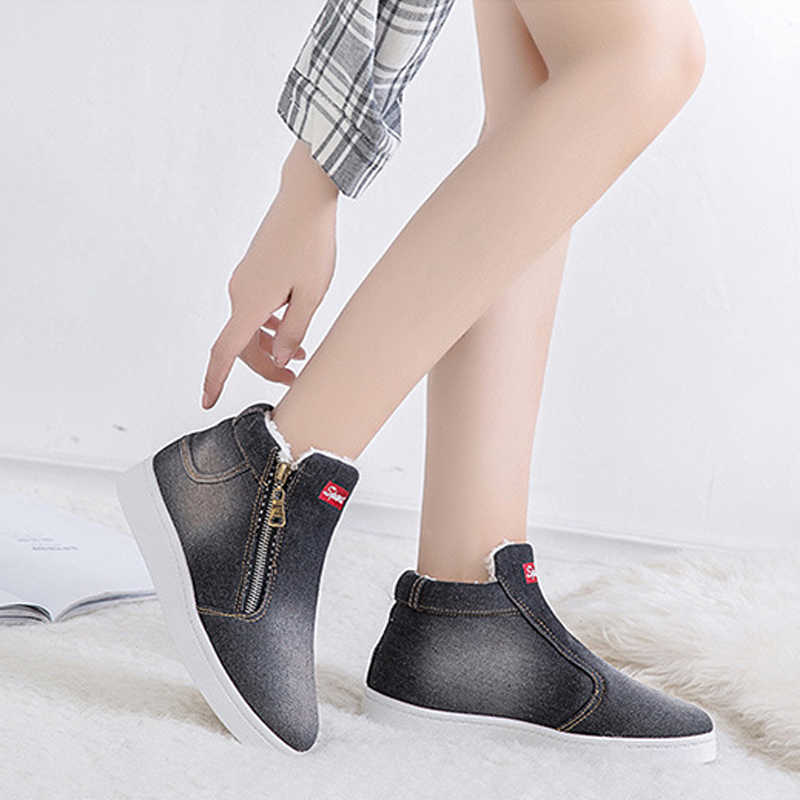 5685a6ed04a ... Winter Women Snow Boots Warm Denim Platform Flat Boot Shoes for Woman  Winter High Top Sneakers ...