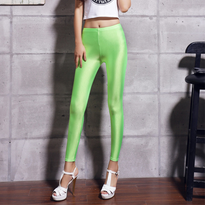 Neon Leggings 2018 New Autum Solid Candy ბამბის - ქალის ტანსაცმელი - ფოტო 2